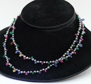 "Designer signed 18K YG sapphire ruby emerald & pearl 38"" long strand necklace"