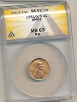 1951-S/S RPM-1 LINCOLN WHEAT CENT - ANACS MS63 RB - GREAT VARIETY! -b177ucxx