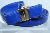 New Salvatore Ferragamo Women's Blue Belt Reversible Size XL Viola Leather