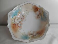 Floral RS Germany Bowl 10 sided Art deco gold trim Blue Brown