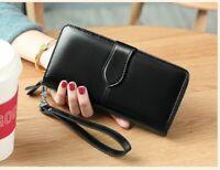 Women Long Genuine Leather Wallet RFID card Holder Cowhide Purse Money Case