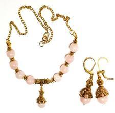 GOLD NECKLACE EARRING SET rose quartz gypsy vintage antique style pierced prom