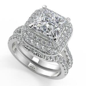 2 Ct Princess Cut Double Halo Pave Diamond Engagement Ring Set SI2 G White Gold