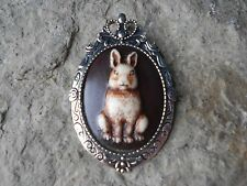 * 2 IN 1 BUNNY RABBIT HAND PAINTED CAMEO BROOCH / PIN / PENDANT - EASTER