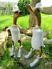 More details for hand carved made wooden lesbian wedding duck ornament sculpture set of 2 lgbt