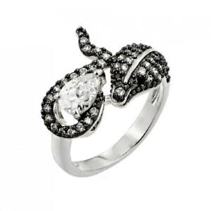 Sterling Silver Two Tone Snake Ring w/ 5mm x 7mm (0.4ct) Marquise & Round Cut CZ