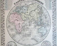Eastern Hemisphere mountain heights river lengths 1872 Mitchell old antique map