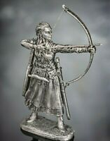 Military Toy Soldiers Archer Woman Viking with Bow 1/32 54mm metal warrior tin