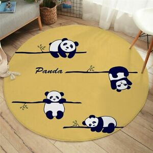 Cartoon Yellow Panda Animal Nature Tree Round Rug Carpet Mat Living Room Bedroom