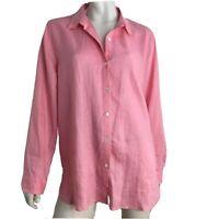 J Jill Top Shirt Button Blouse Long Sleeve Linen Collared Women Size Large Pink
