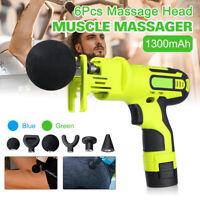 Multi-Speed 1300mAh Percussive Massage Gun Muscle Vibrating Relaxing Therapy