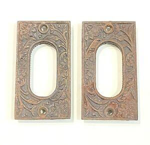 "Antique Cast Iron Pocket Door PAIR Pulls Hardware Back Plate 3 1/2"" x 1 7/8"""