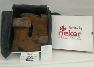 RIEKER ANTI STRESS Boots UK 4 - EU 37 Brown Suede with faux fur trim..RRP...£75