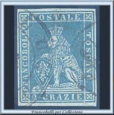 ASI 1851 Toscana 2 crazie azzurro grigio su azzurro n. 5a Usato Antichi Stati
