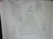 Printed Embroidery Pair Chair Back Cover White 100 Cotton Crinoline Lady Cs0081