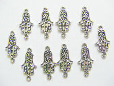 10 Antique Silver Hamsa/Fatima Hand/God Hand Jewellery Connectors/Charms - 25mm