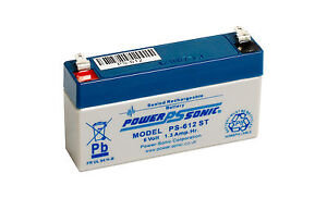 PS-612 Power-Sonic 6v 1.3Ah PS612ST Rechargeable Sealed Lead Acid 6 V Battery