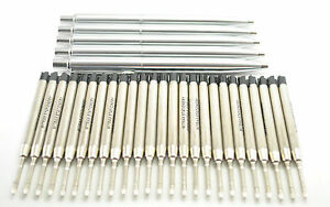 5 Stainless Steel click pens + 25 Quality Mitrax brand black ballpoint refills