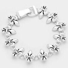 Fleur de Lis Bracelet Magnetic Clasp Metal Link Irish Symbol Religious SILVER