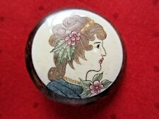 6063 – Large Polychrome Beautiful Lady on Bone set in Wood Button