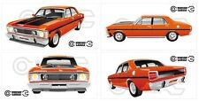 FORD FALCON XW GT HO 351 -  STICKER PACK ORANGE 4 LARGE STICKERS