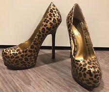 BEBE Women's Patent Leather Leopard Platform High Heels Size 7 (Worn Once)