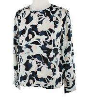 Club Monaco Women's Smocked Shoulder Printed Top Blouse Black Mix MSRP $159