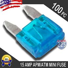 100 Pack 15A Mini Blade Style Fuses APM/ATM 32V Short Circuit Protection Fuse US