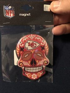 Kansas City Chiefs Sugar Skull Magnet NFL