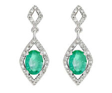 10k White Gold Oval 2.50ct Genuine Emerald and Diamond Earrings