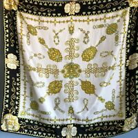 "34"" Vintage Black White Art Deco Gold Silk Scarf Hand Rolled Edges Mom Gift"