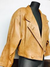 Gorgeous Vintage Leather Jacket 80s Tan Slouch Rare One Of A Kind Boho Luxe  12