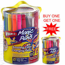 COLOUR CHANGING PENS SET MAGIC PENS RAINBOW MAGIC MARKERS STENCILS BLOW PEN NEW
