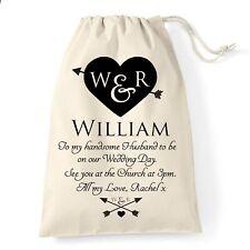 Groom Wedding Gift Bag | Heart & Arrows Design | Personalised