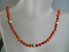Vintage top quality Carnelian w/6mm sterling silver beads & clasp necklace 18""