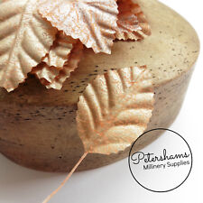 Rose Gold Small Fabric Leaves for Tiara Making, Hats & Millinery - 12 Leaves