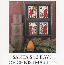 Prairie Schooler - Santa's 12 Days of Christmas 1 - 4  Cross Stitch Pattern OOP