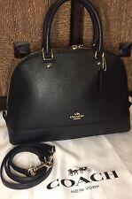 NWT COACH F57524 Crossgrain Leather Large  Sierra Satchel Handbag In Black