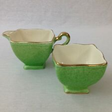Royal Winton Grimwades Milk & Sugar Set Countess Mottled Green And Gilt Art Deco