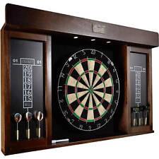 "Dartboard Cabinet 40"" LED Lights and Six Steel Tip Darts Game Room Bedroom Play"