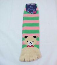 Toe Flip Flop Teddy Bear Socks soft Green Pink Womens 9-11 Shoe size 5-9