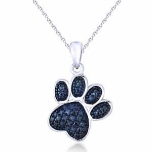 1.50 Ct Round Cut Blue Sapphire Accent Dog Paw Pendant Chain 14K White Gold Over