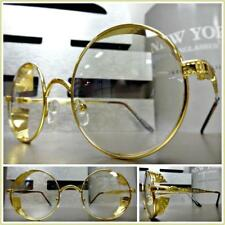 Mens CLASSIC VINTAGE RETRO Style Clear Lens EYE GLASSES Round Gold Blinder Frame