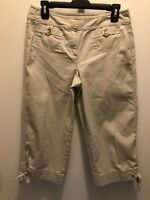 ANN TAYLOR Womens Stretch Tan Beige Capris Crop Pants Tie BottomSize 4