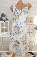 Italy Blumen Kleid Leinen Baumwolle Sommer OVERSIZE MIDI Hippie Weiß 40 42 44