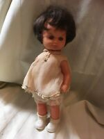 "Vintage Baby Doll. Plastic. Brown Hair. 12"" Tall. 1960s. Toy."