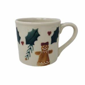 HARTSTONE Coffee Mug Cup Gingerbread Woman Girl Christmas Holly