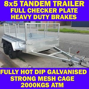 8x5 galvanised tandem box trailer with cage