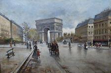 huile sur toile ancienne vue de la place de l'étoile arc de triomphe Paris 1900