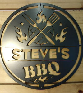 PERSONALISED BBQ Cooking Sign Metal Barbecue Grills Summer Garden flame charcoal